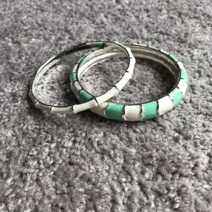Mint and white bangle set